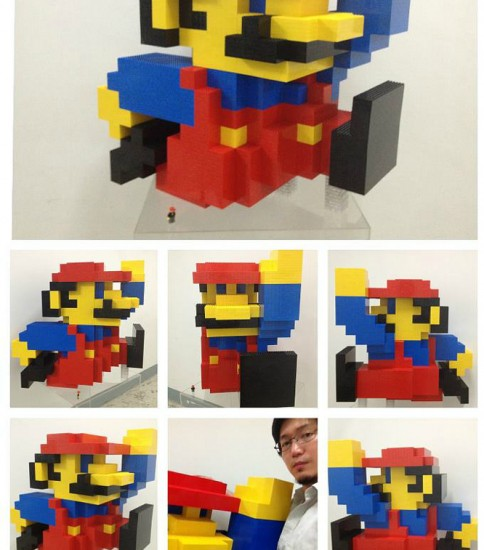 30 inches tall Voxel Mario